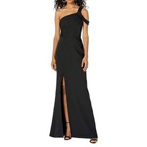 BCBG One Shoulder Column Dress Matte Black